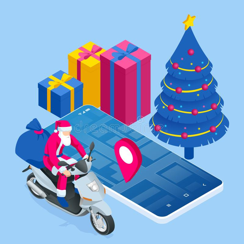 Isometric happy Santa Claus riding a motor scooter, with a sack full of colorful boxed gifts. Delivery Service man in royalty free illustration