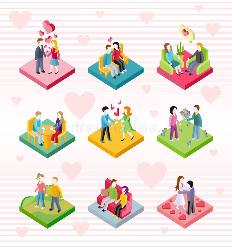 Isometric Happy Valentine Day Couple Set. Isometric happy valentine day couple on date. 3D couple lover on valentine day, happy valentine, couple love young vector illustration