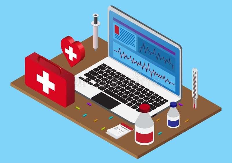 Isometric health computer with first aid kit royalty free illustration