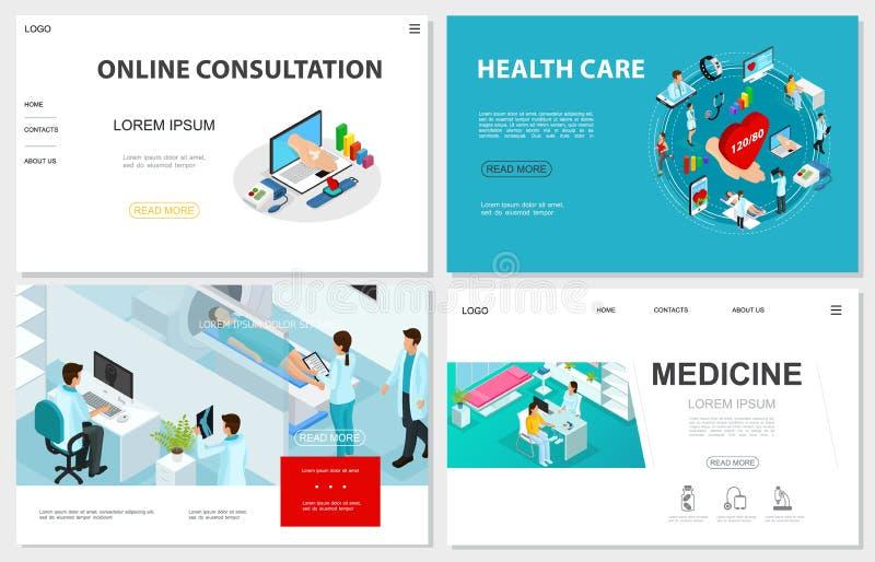 Isometric Healthcare Websites Set stock illustration
