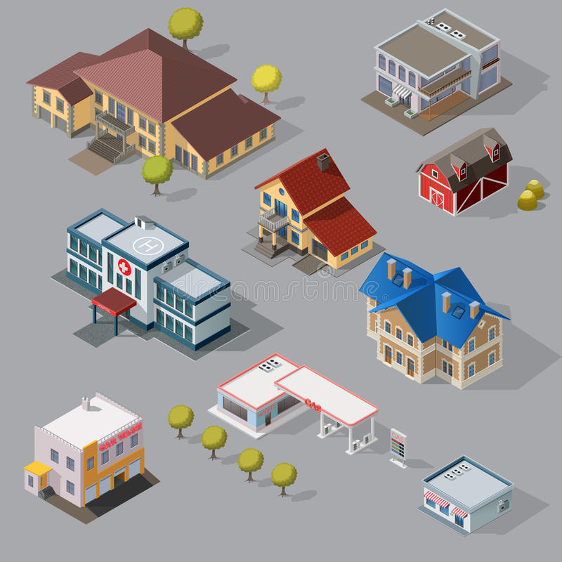 Isometric High Quality City Street Urban Buildings royalty free illustration