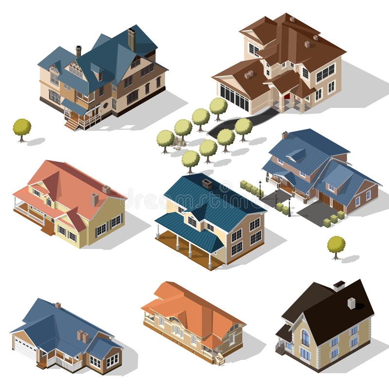 Isometric High Quality City Street Urban Buildings. Isolated on Background royalty free illustration