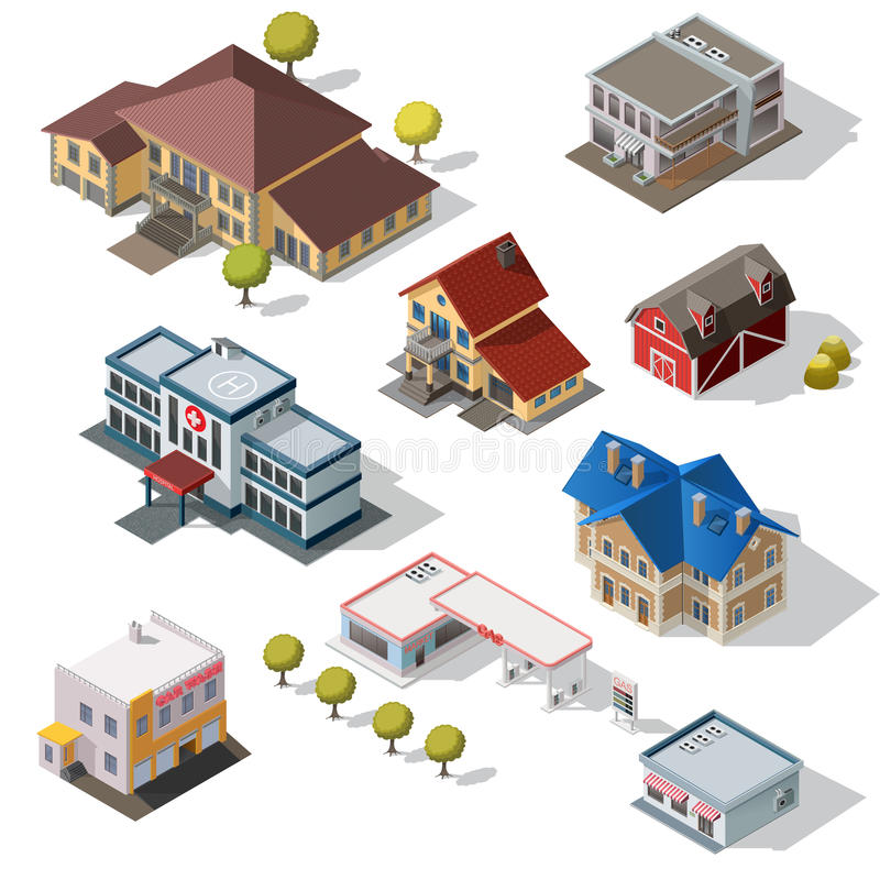 Isometric High Quality City Street Urban Buildings stock illustration