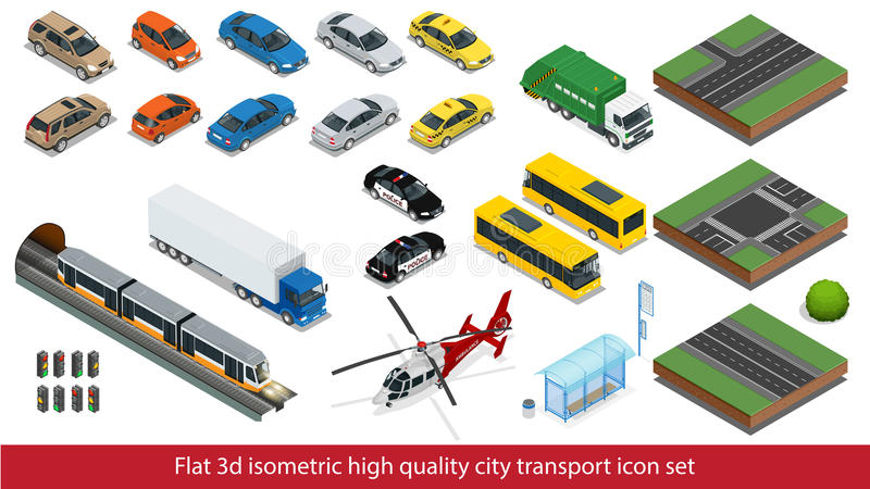 Isometric high quality city transport icon set Subway train, Police, taxi truck car Mini, sedan helicopter, street road royalty free illustration