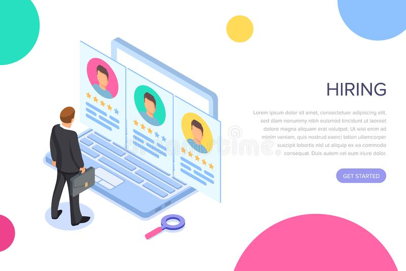 Isometric hiring, recruitment concept. Job interview, search human resource, find talent employee. 3d computer with. Resume. Hr manager. Vector cartoon design vector illustration