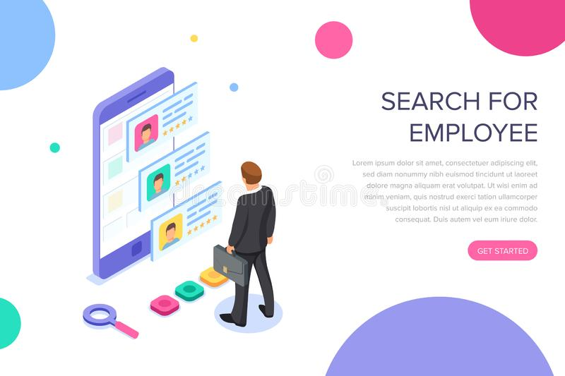 Isometric hiring, recruitment concept. Job interview, search human resource, find talent employee. 3d computer with. Resume. Hr manager. Vector cartoon design stock illustration