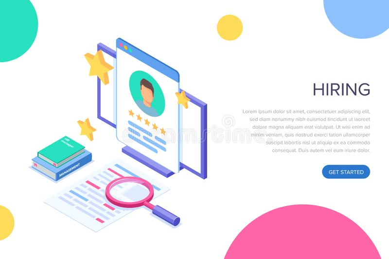 Isometric hiring and recruitment concept for web page, banner, presentation. Job interview, recruitment agency. Vector. Isometric illustration vector illustration