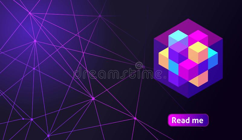 Isometric holographic geometric icon Crypto Currency, colorful abstract background. A great concept for a web design template 10 stock illustration