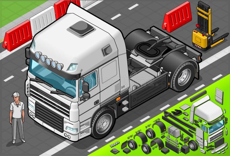 Isometric Holowniczej ciężarówki Tylko taksówka w Frontowym widoku ilustracji