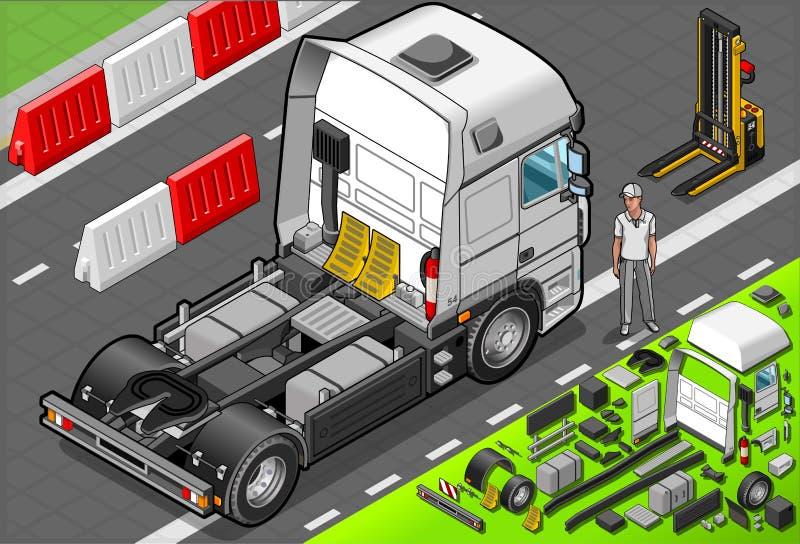 Isometric Holowniczej ciężarówki Tylko taksówka w Frontowym widoku royalty ilustracja