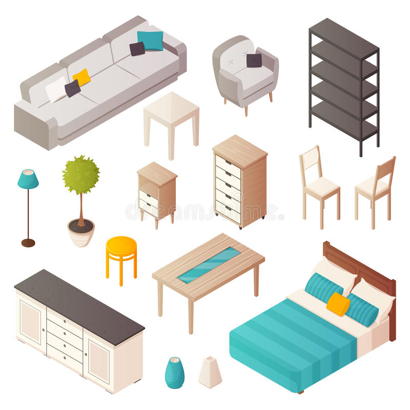 Isometric Home Furniture Set. Isolated isometric home furniture icons set with interior design elements tables cabinet chairs plants and sofa vector illustration royalty free illustration