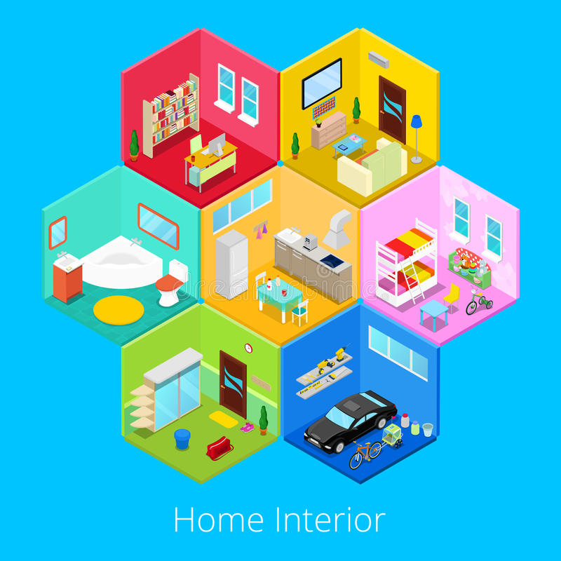 Isometric Home House Interior with Living Room, Kitchen, Bathroom, Garage and Children Room royalty free illustration