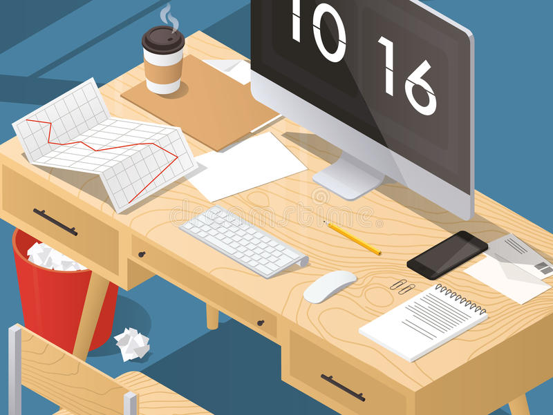 Isometric home office concept royalty free illustration