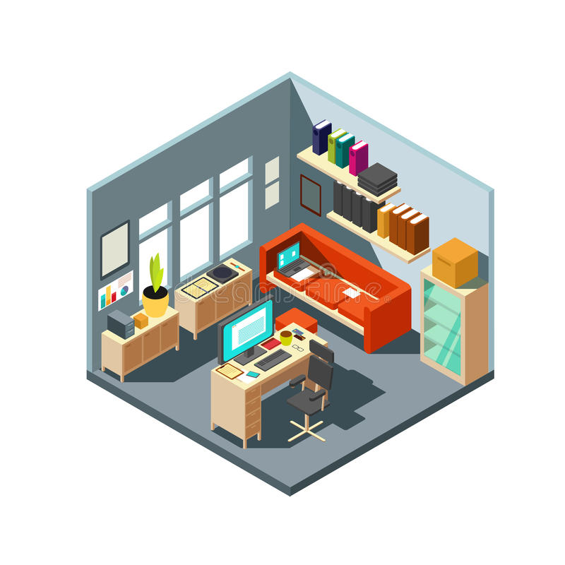 Isometric home office interior. 3d workspace with computer and furniture. Isometric office room with computer and table with chair illustration royalty free illustration