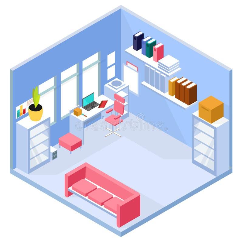 Isometric home office interior vector illustration