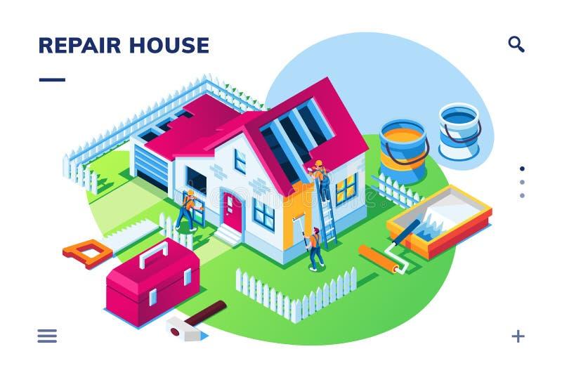Isometric home repair or house renovation. Isometric exterior view at home repair or house renovation, building restoration, maintenance. Smartphone application vector illustration
