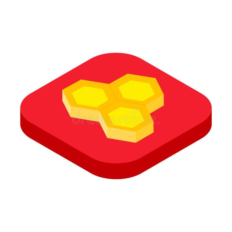 Isometric honeycomb icon, beekeeping concept vector stock illustration