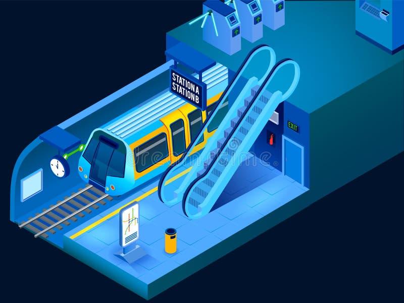 Isometric Horizontal Underground Illustration. Empty underground metro station and arriving train horizontal isometric 3d vector illustration stock illustration