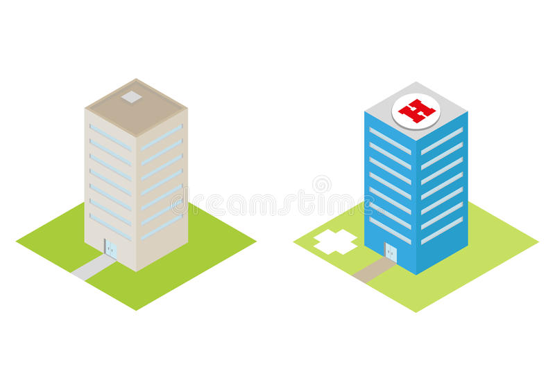 Isometric hospital with a heliport and commercial buildings flat 3d vector illustration
