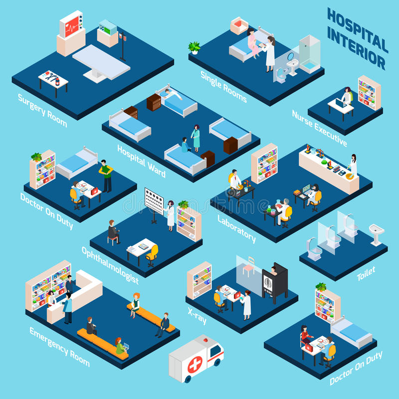 Isometric Hospital Interior vector illustration