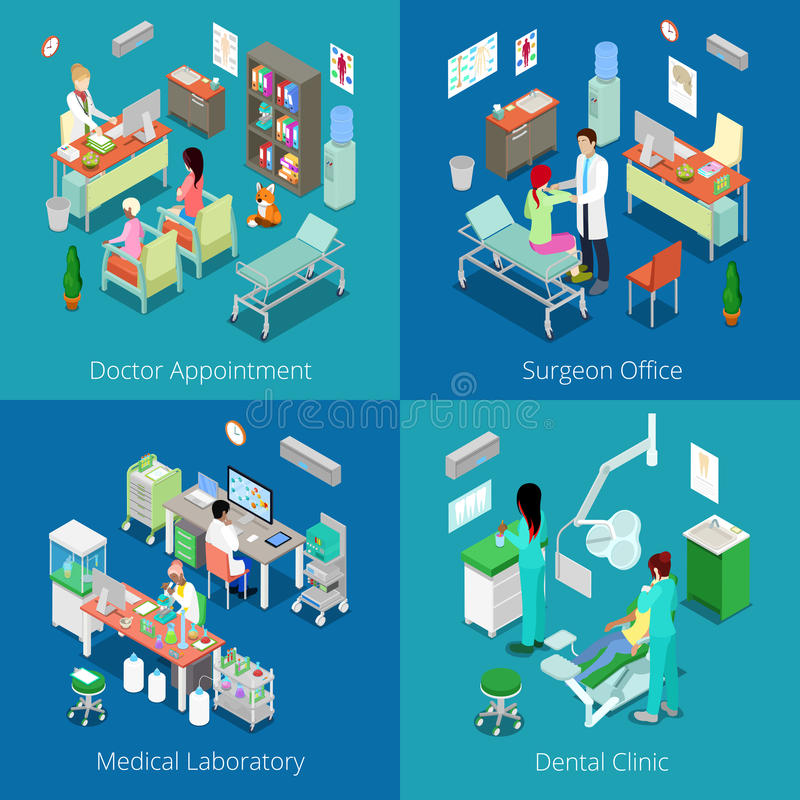 Isometric Hospital Interior. Doctor Appointment, Medical Laboratory, Dental Clinic, Surgeon Office vector illustration
