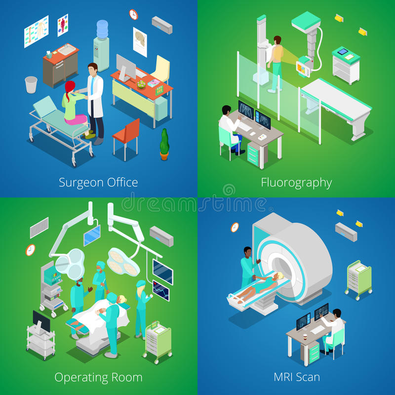 Isometric Hospital Interior. Medical MRI Scan, Operating Room with Doctors, Fluorography Process, Surgeon Office stock illustration