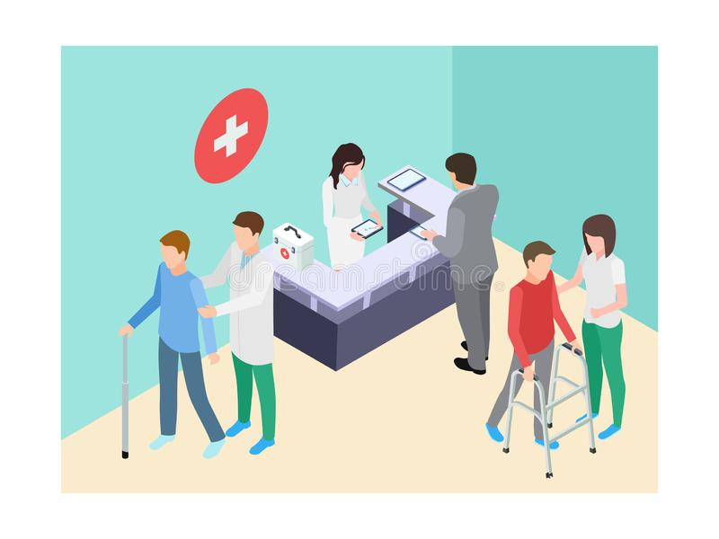 Isometric hospital registry, doctors, staff and patients vector illustration. Medical doctor and reception assistance vector illustration