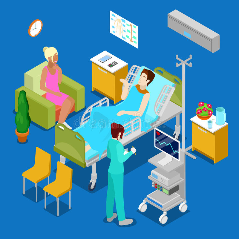 Isometric Hospital Room with Patient and Nurse. Health Care 3d Concept stock illustration