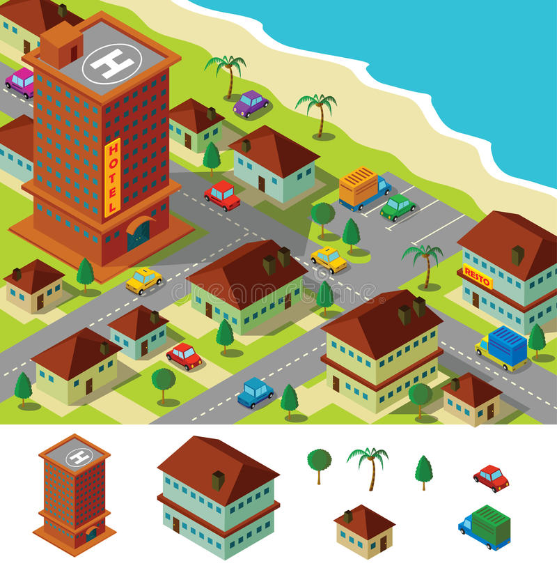 Download Isometric hotel near beach stock vector. Image of hotel - 28375866