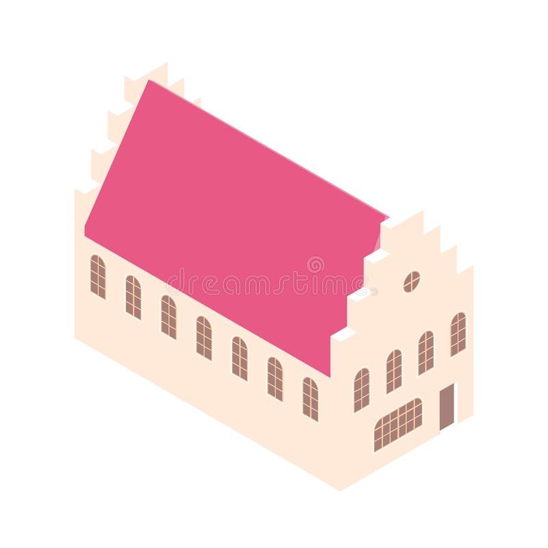 Isometric house with crow stepped gable. Isolated on white background. stock illustration