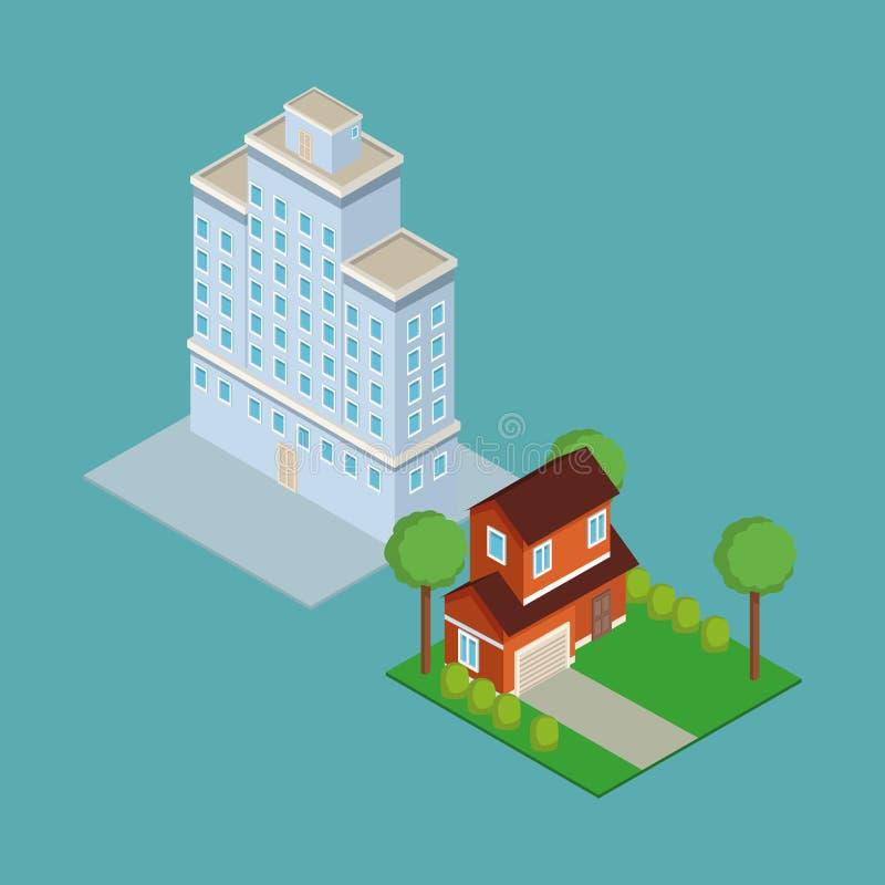 Isometric house 3d. On blue background illustration graphic stock illustration
