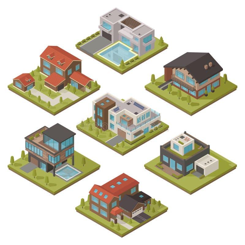 Isometric House Icon Set royalty free illustration