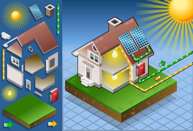 Isometric house with solar panel. Detailed animation of a Isometric house with solar panel in production of energy from the sun vector illustration