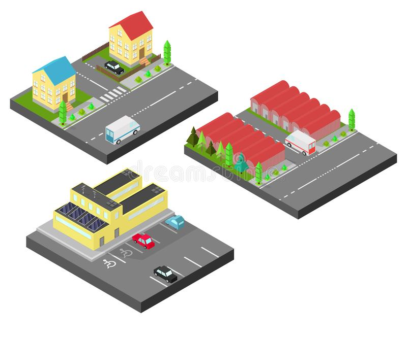 Isometric house. Two houses on the same street. Isometric building with solar panel.Vector illustration isometric style. Isometric house. Two houses on the same vector illustration
