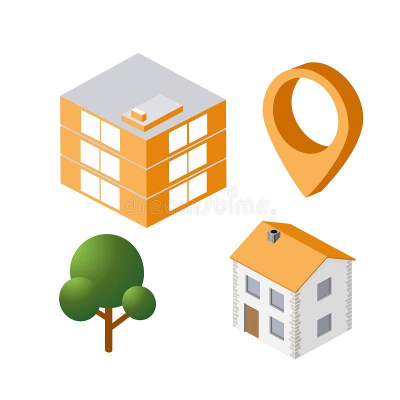 Isometric house urban royalty free illustration