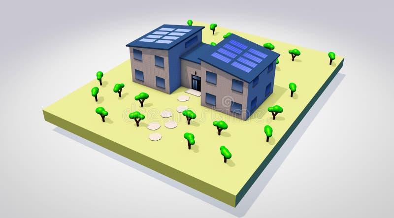 Isometric house on white background 3d render. Illustration stock illustration