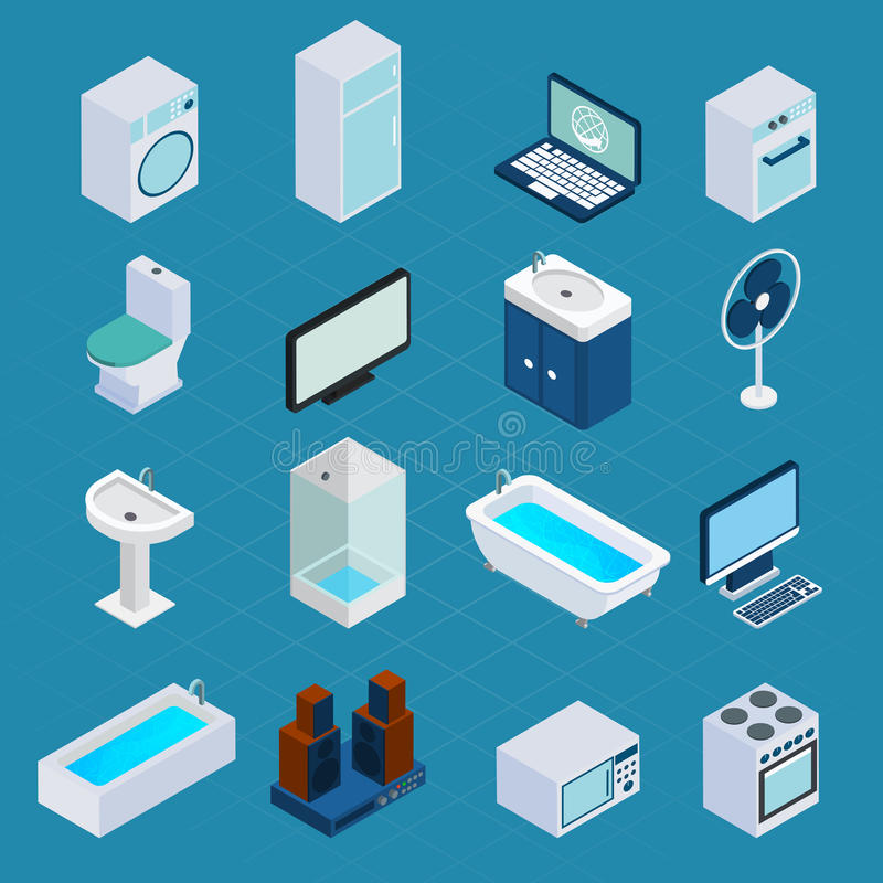 Isometric Household Appliances stock illustration