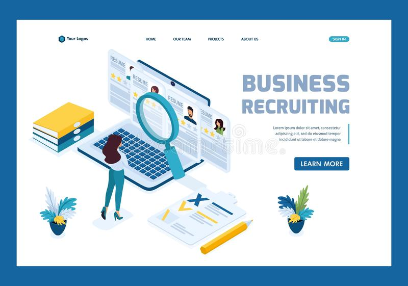 Isometric HR Manager, business recruiting manager reviews the resume options on the site. Template Landing page.  vector illustration