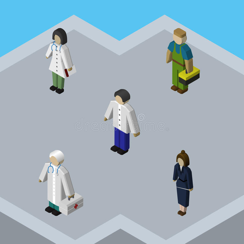 Isometric Human Set Of Plumber, Businesswoman, Medic And Other Vector Objects. Also Includes Plumber, Businesswoman stock illustration