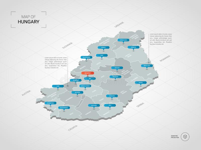 Isometric Hungary map with city names and administrative divisions. vector illustration