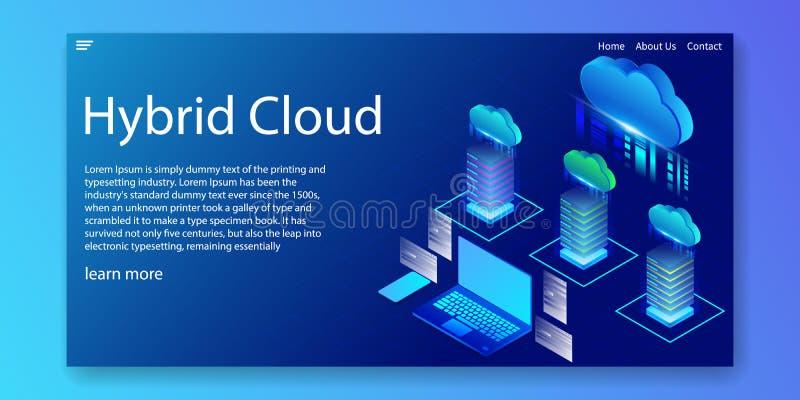 Isometric hybryd chmura, oblicza usługowego zasoby pojęcie, sieć szablon, wektorowa ilustracja ilustracja wektor