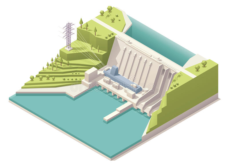Isometric hydroelectric power station vector illustration