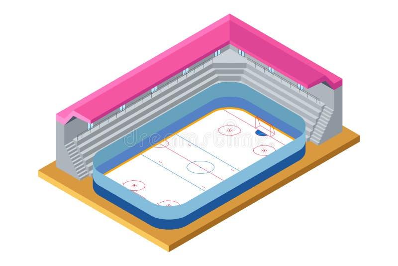 Isometric Ice Hockey Arena Illustration stock illustration