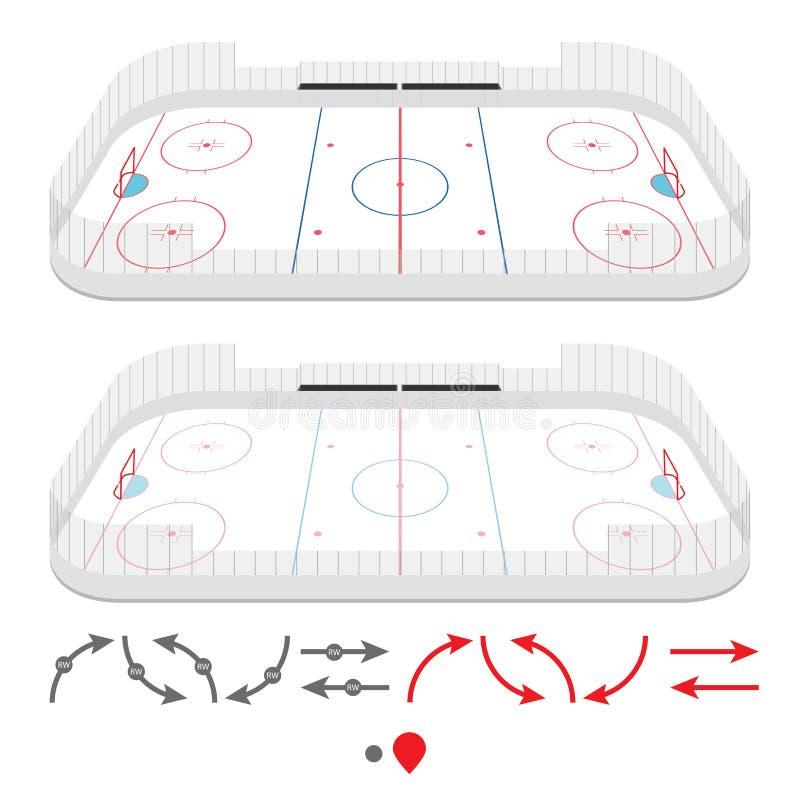 Isometric ice hockey rink royalty free illustration
