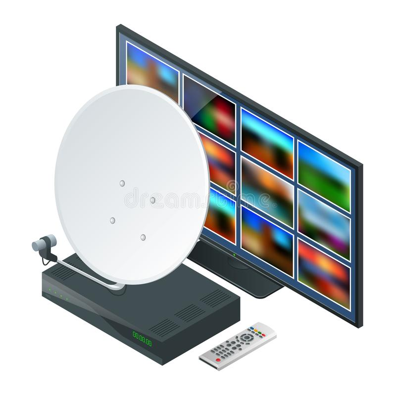 Isometric icon an antenna, a remote and receiver for satellite TV and TV on white. Wireless Technology and Global. Isometric icon an antenna, a TV tuner, TV vector illustration