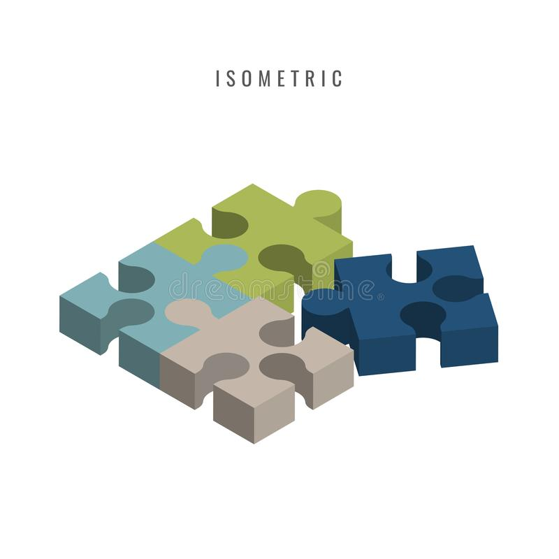 Isometric. icon. Jigsaw 3D color blue. green. gray. puzzle piece royalty free illustration