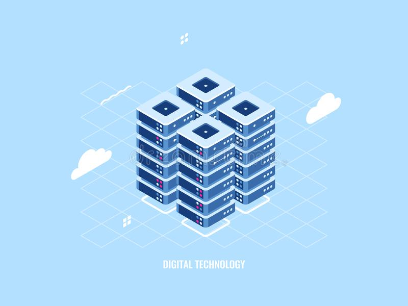 Isometric icon of server room rack, cloud storage technology, data center and database, data processing system, smart. Security, flat vector illustration vector illustration