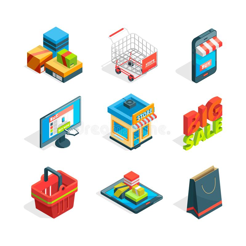 Isometric icon set of online shopping. Symbols of ecommerce. Buying in internet. Isometric trolley and smart phone, vector illustration royalty free illustration