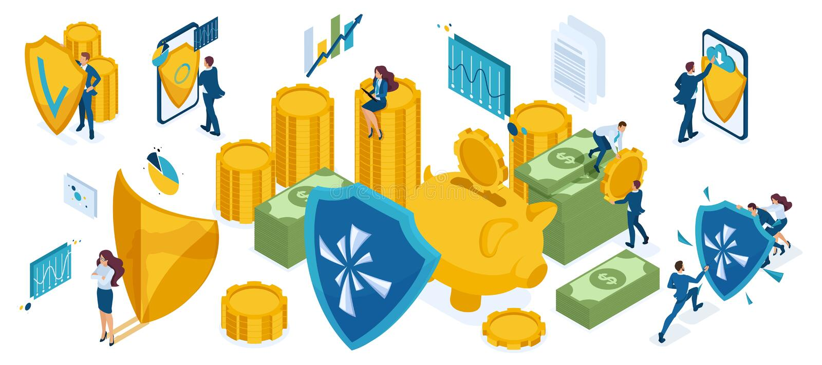 Isometric icon set for the protection of money and valuables, investors, bankers, businessmen and businesswoman stock illustration