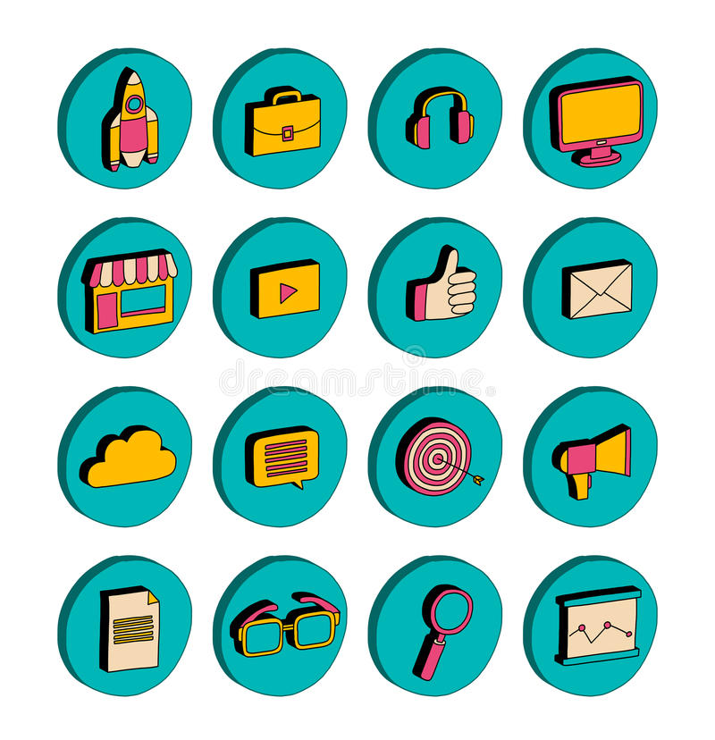 Isometric icons Business and startup Doodle 3d. Pictures royalty free illustration